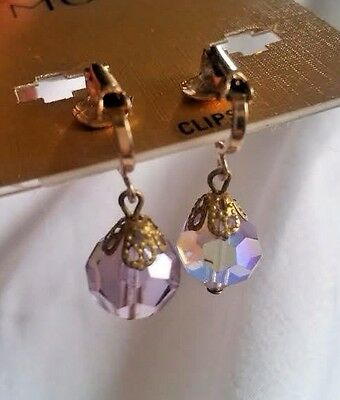 Vintage Art Deco Gold Foil Capped Lavender AB Tear Drop Crystal Prism Earrings