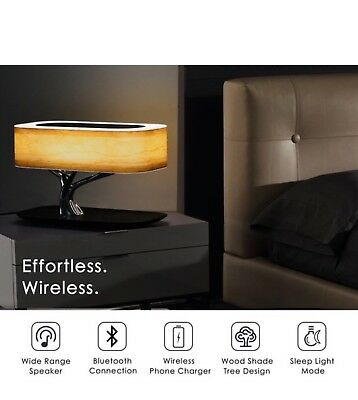 Bedside Lamp with Bluetooth Speaker and Wireless Charger, Sleep Mode Stepless