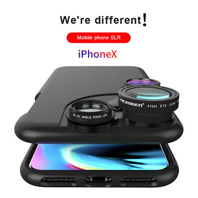 4 in 1 Cell Phone Fish Eye Wide Angle Macro Lens Camera Case For iPhone X 6 7 8+