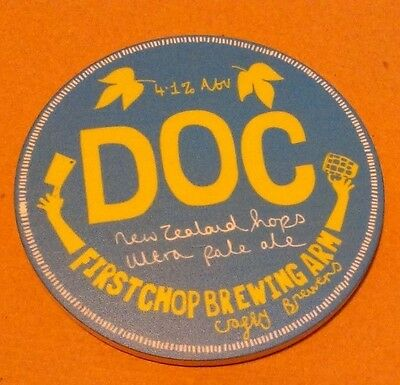 Beer pump badge clip FIRST CHOP brewery DOC cask ale pumpclip front Manchester