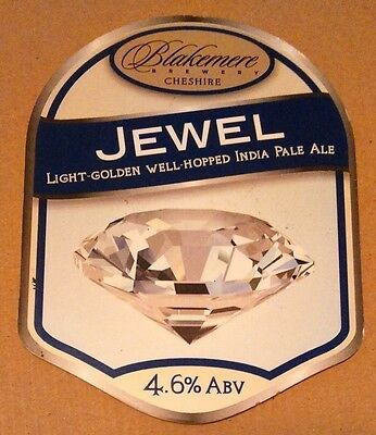 Beer pump badge clip BLAKEMERE brewery JEWEL cask ale pumpclip front Cheshire