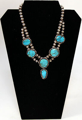 """Navajo Sterling Silver and Turquoise Necklace 17"""" Long"""