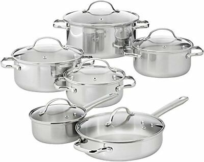 AmazonBasics 12-Piece Stainless Steel Cookware Set