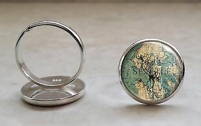 Sterling Silver Choose a City Vintage Map Locations Adjustable Ring