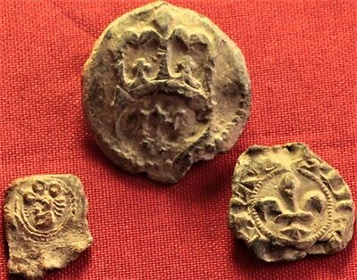Lot of 3 Medieval Lead Seal 14. Century, Crayfish, Crown, Tower Stamp