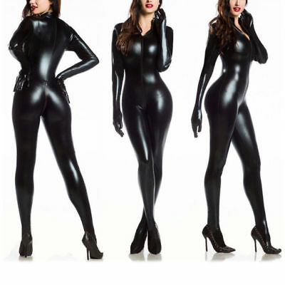 Black Women Vinyl PVC Wetlook Leather CATSUIT CLUBWEAR Bodysuit Motor Jumpsuit