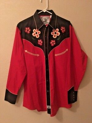 Men's Ely 1878 Square Line Dance Fancy Embroidered Shirt size L Large
