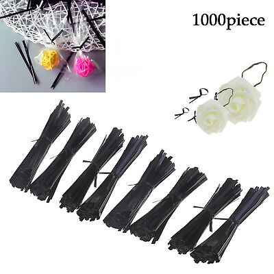 UE 1000pcs Black Plastic Coated Wire Ties 100mm/150mm Twist Ties for Cello Bags