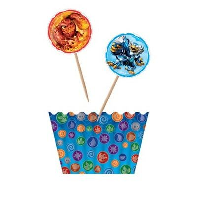 Skylanders Cup Cupcake 12 Wrapper 12 Topper Cake Pack Birthday Party Stand
