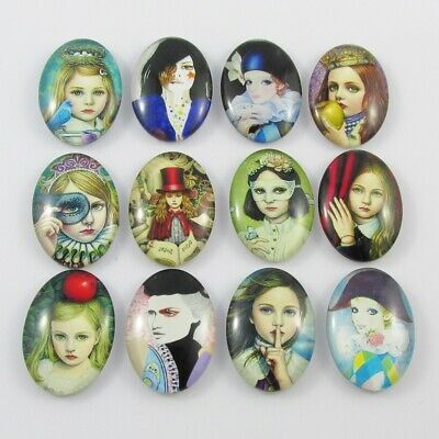 Oval Glass Dome Portrait Print Cabochon 25x18mm Select 5 or 10 pce Random Mix