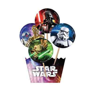 Star Wars Cup Cupcake 12 Wrapper 12 Topper Cake Pack Birthday Party Use On Stand