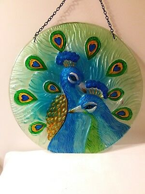 """Decorative Glass  Peacock Sun Catcher 12"""" ~Made Exclusively for Cracker Barrel"""