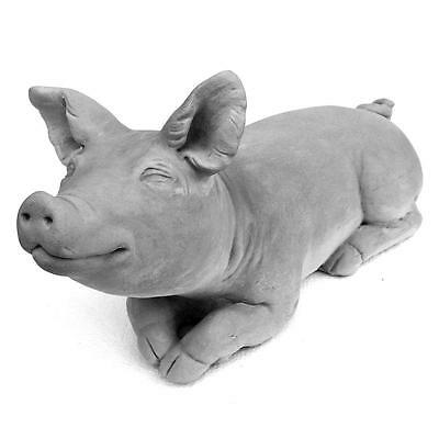 Antique Gray 10.25-in Cast Stone Brother Pig Free Standing Durable Garden Statue