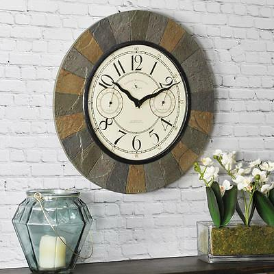 Slate 15.5 in. Resin Garden Indoor/Outdoor Wall Mount Clock with Thermometer