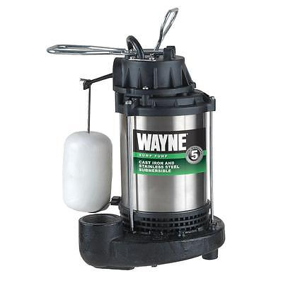 3/4 HP Submersible Sump Pump System Vertical Wayne Stainless Steel Cast Iron