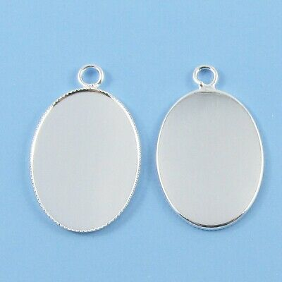 Bulk Silver Plate Oval Cabochon Setting 31x19mm Fit 18x25mm OVAL Cabs Select Qty