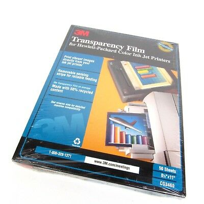 3M Transparency Film For Hp Color Inkjet Printers 50 Sheets 8 1/2x11 Cg3460 New