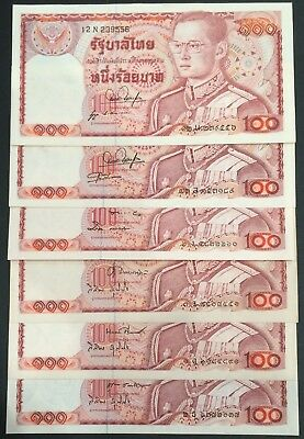 Thailand Banknote 6 x 100 Baht King Rama IX Different Signature Series 12 UNC.
