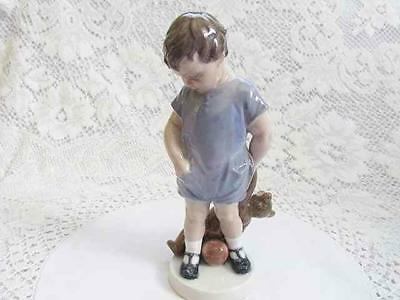 Royal Copenhagen boy with teddy bear child figurine Denmark collectible 3468