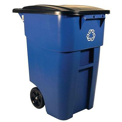 Rubbermaid Blue Rollout Recycling Trash Container Large Outdoor Commercial Bin