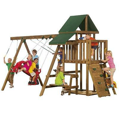 Brown 120-in Rival Qualifier Ready to Assemble 1365-lb Load Capacity Playset