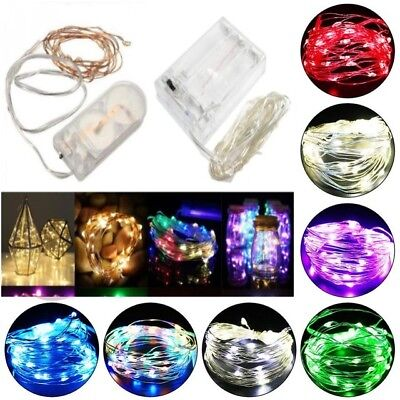 20-100 LED Battery Micro Rice Wire Copper Fairy String Lights Party white/rgb MC