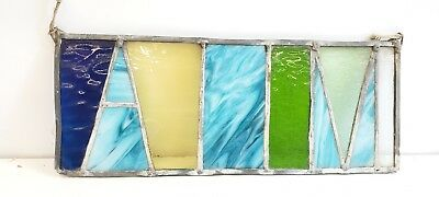 Vintage Stained Glass sun catcher rectangle blue green yellow