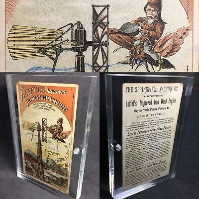 Aermotor Iron Windmill Engine Tower Litho American Ohio Merchant Rare Trade Card
