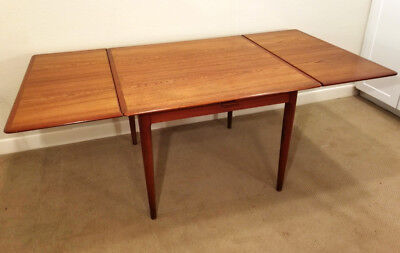 VTG DANISH MODERN Drop Leaf Teak Dining Table By Skovmand Andersen - Teak dining table with leaf