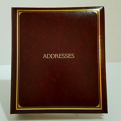 "Bonded Leather Address Book Mahogany & Gold Trim Refillable 3-Ring 8x6 1/2""x1"""