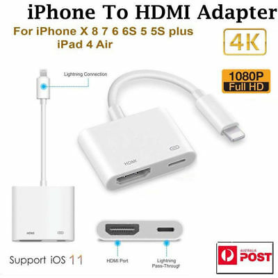 1080P 8 Pin  to HDMI TV AV Adapter Cable for iPhone 6 6S 7 8 Plus X