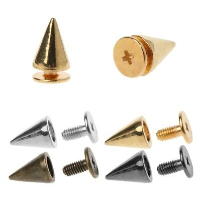 100 Sets 10MM Cone Bullet Spike and Stud Metal Screw Back for DIY Leather Craft
