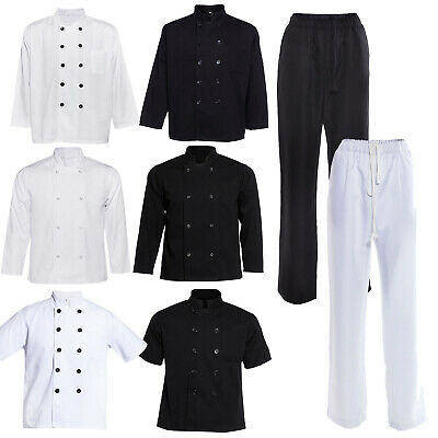 Chef Jacket Coat White Black Trousers Kitchen Catering Clothing Workwear