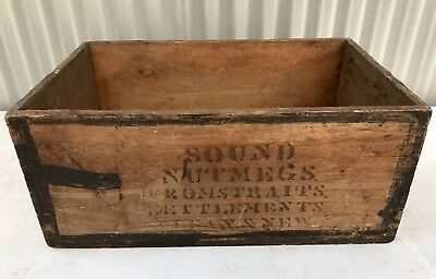 Vintage Industrial Dovetailed Solid Timber Printed Box Sound Nutmegs Storage Mel
