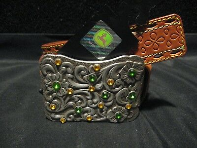 Official John Deere Ladies SMALL (26/28) Top Grain Leather Cowgirl Belt w/Buckle