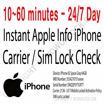 APPLE ALL-IN-ONE CHECK+COVERAGE+ICLOUD+SIM Lock GSX report