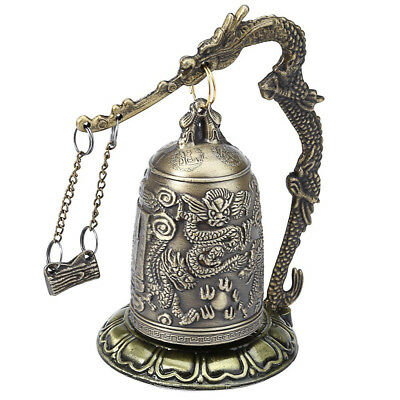 Zinc Home Decor Dragon Carved Buddhist Bell Vintage Bronze Lock Good Luck Bell