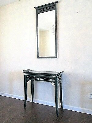 Vintage Hekman Ming Style Green Lacquered Chinoiserie Console Table with Mirror