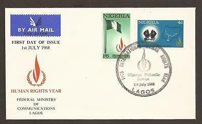 Nigeria 1968 FDC. Human rights year, map, flags