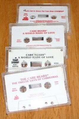 The CARE BEARS & COUSINS - SET OF FOUR (4) MUSIC CASSETTE TAPES GUC