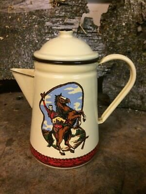 Round-up ranchware enamel coffee pot-rare Hard To Find