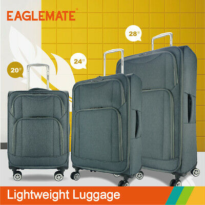 Eaglemate 3pc Luggage Suitcase Trolley Set  Travel Carry On Bag Soft Lightweight