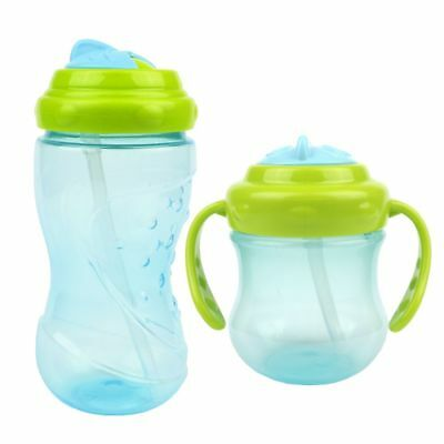 Kid Baby Toddler Non Spill Proof Easy Grip Spin and Sippy Cup Straw Water Bottle