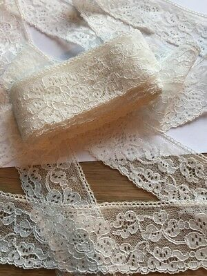 """Period Lace Cream Off White Lace Border Vintage Wedding 5 Yards 1.5"""" Wide 4cm"""