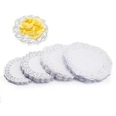 100pcs 5 Sizes Round White Lace Hollow Out Paper Doilies Cake Placemat Crafting