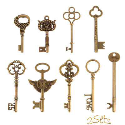 18Pcs Vintage Old Look Bronze DIY Skeleton Keys Heart Bow for Home Decor CR038