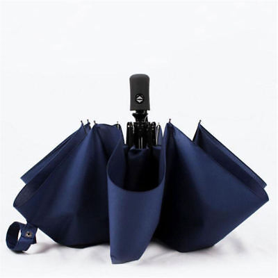 Strong Windproof Umbrella Automatic Open/Close Folding Double Canopy Black