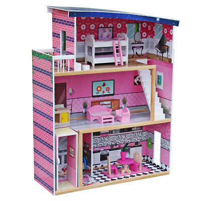 Large Children's Wooden Pink Dollhouse Fits Barbie Doll House W 18 Pcs Furniture