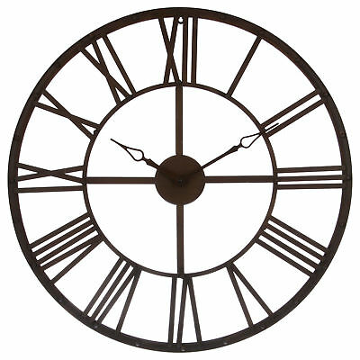 Large Wall Clock Metal Brown Vintage Roman Numerals 70 cm Round