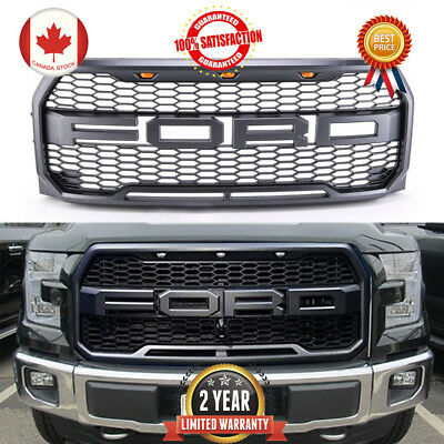 For 15-17 Ford F150 Front Hood Upper Replacement Grill Raptor Style With 3 Light